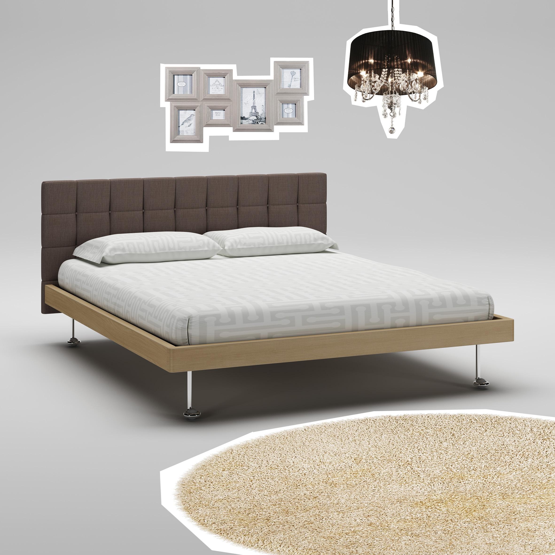Lit adulte PERSONNALISABLE WL113 de 160 x 200 avec tête de lit rembourrée - MORETTI COMPACT