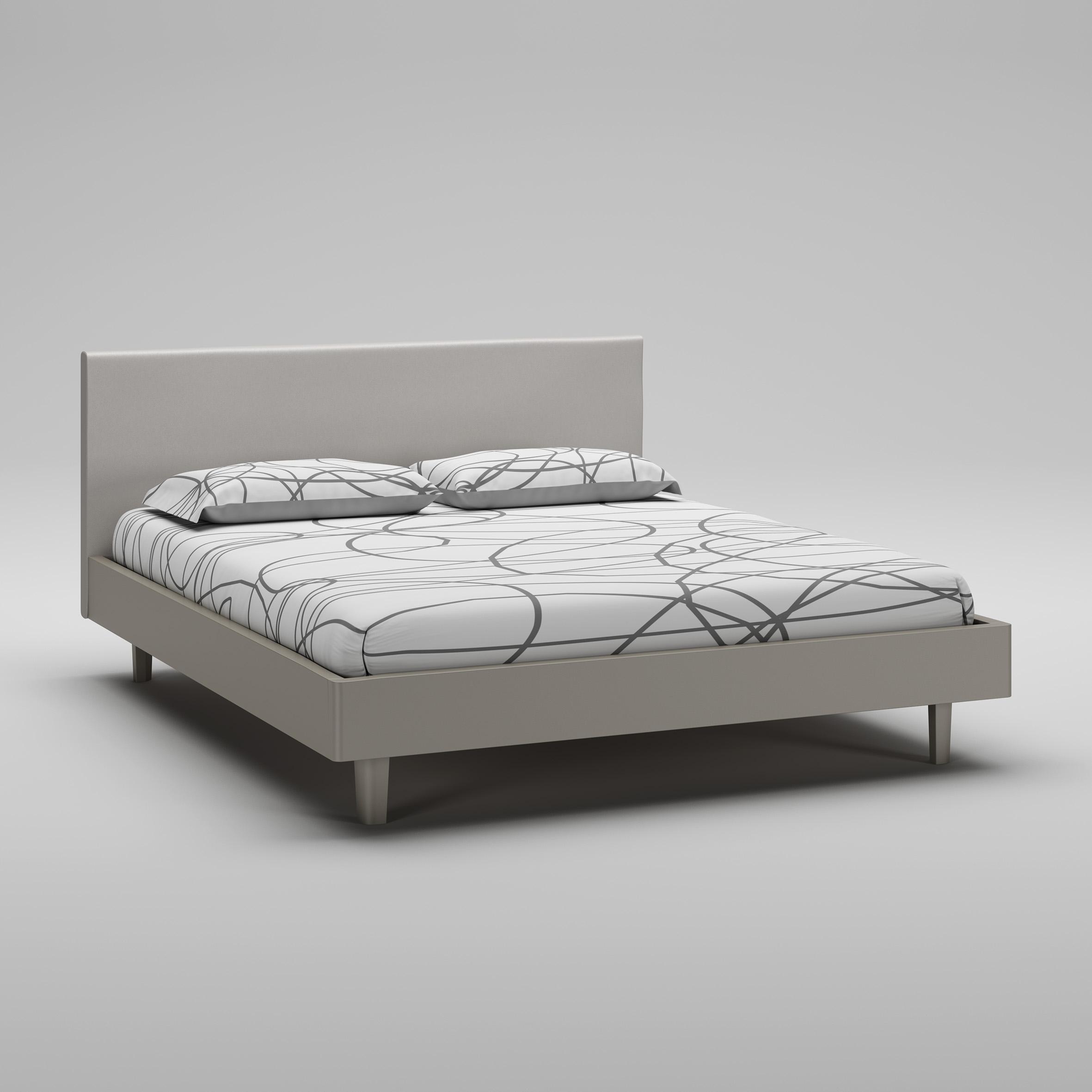 Lit adulte PERSONNALISABLE WL116 de 160 x 200 avec cadre de lit laqué mat & tête de lit rembourrée - MORETTI COMPACT
