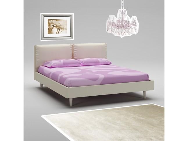 Lit adulte PERSONNALISABLE WL118 avec cadre de lit laqué mat & tête de lit rembourrée - MORETTI COMPACT