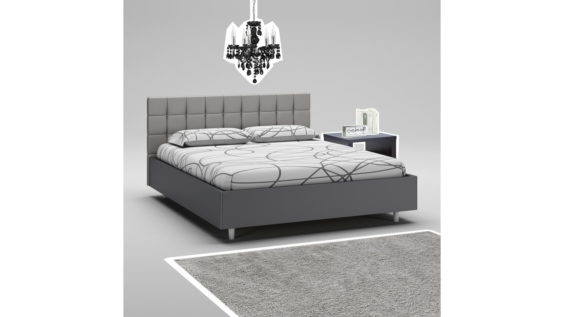 lit 160x200 t te de lit cadre graphite moretti compact so nuit. Black Bedroom Furniture Sets. Home Design Ideas