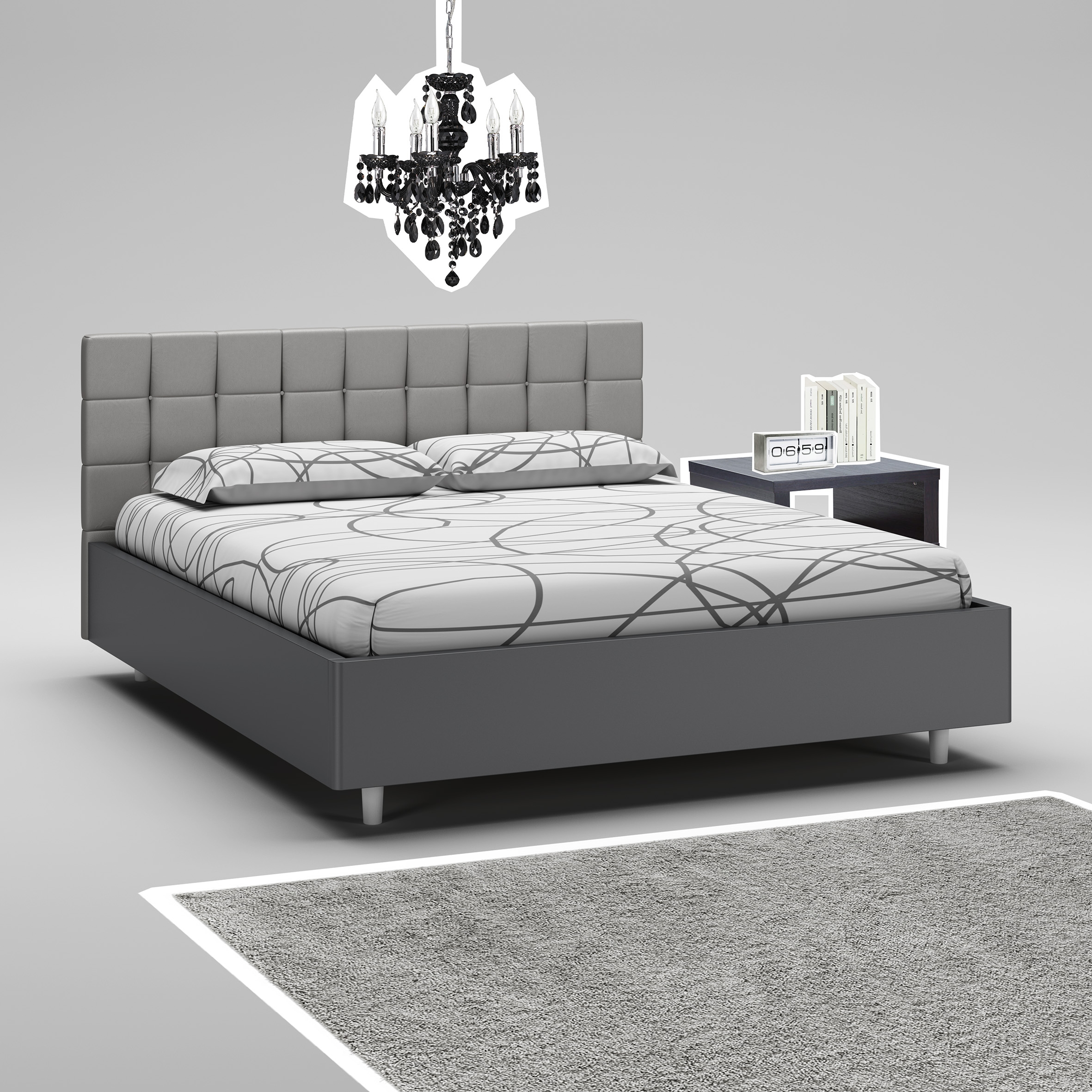 cadre de lit 180x200 avec rangement maison design. Black Bedroom Furniture Sets. Home Design Ideas