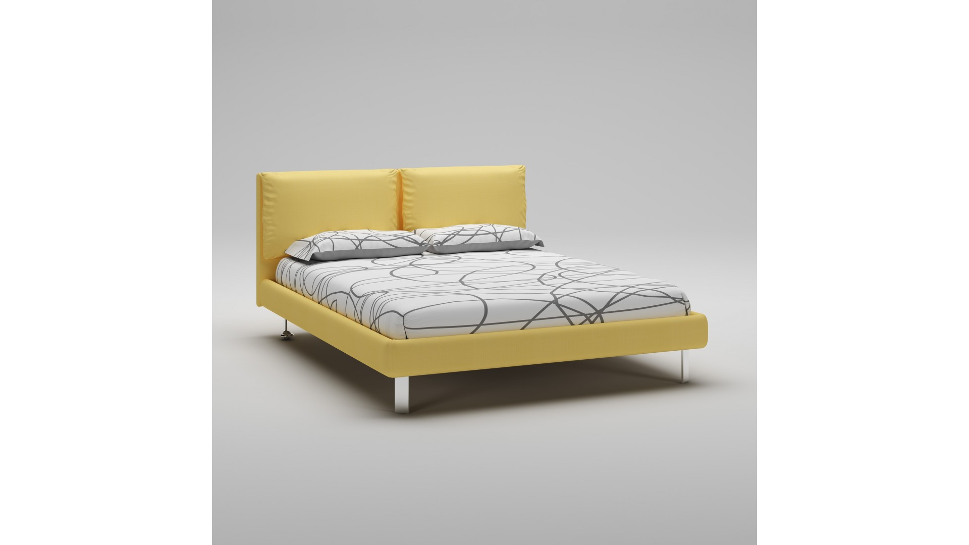 lit 160x200 avec cadre t te de lit jaune moretti. Black Bedroom Furniture Sets. Home Design Ideas