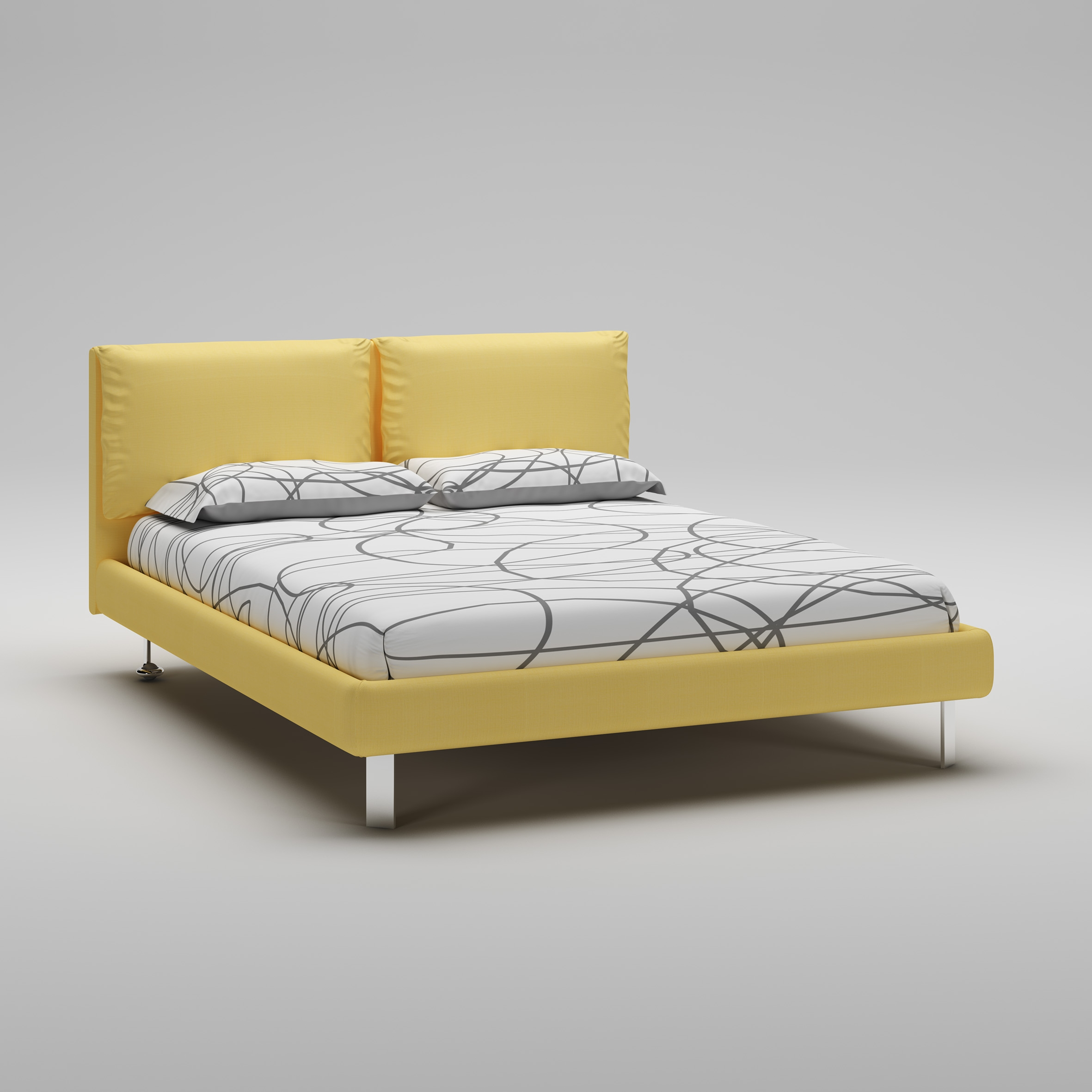lit 160x200 avec cadre t te de lit jaune moretti compact so nuit. Black Bedroom Furniture Sets. Home Design Ideas
