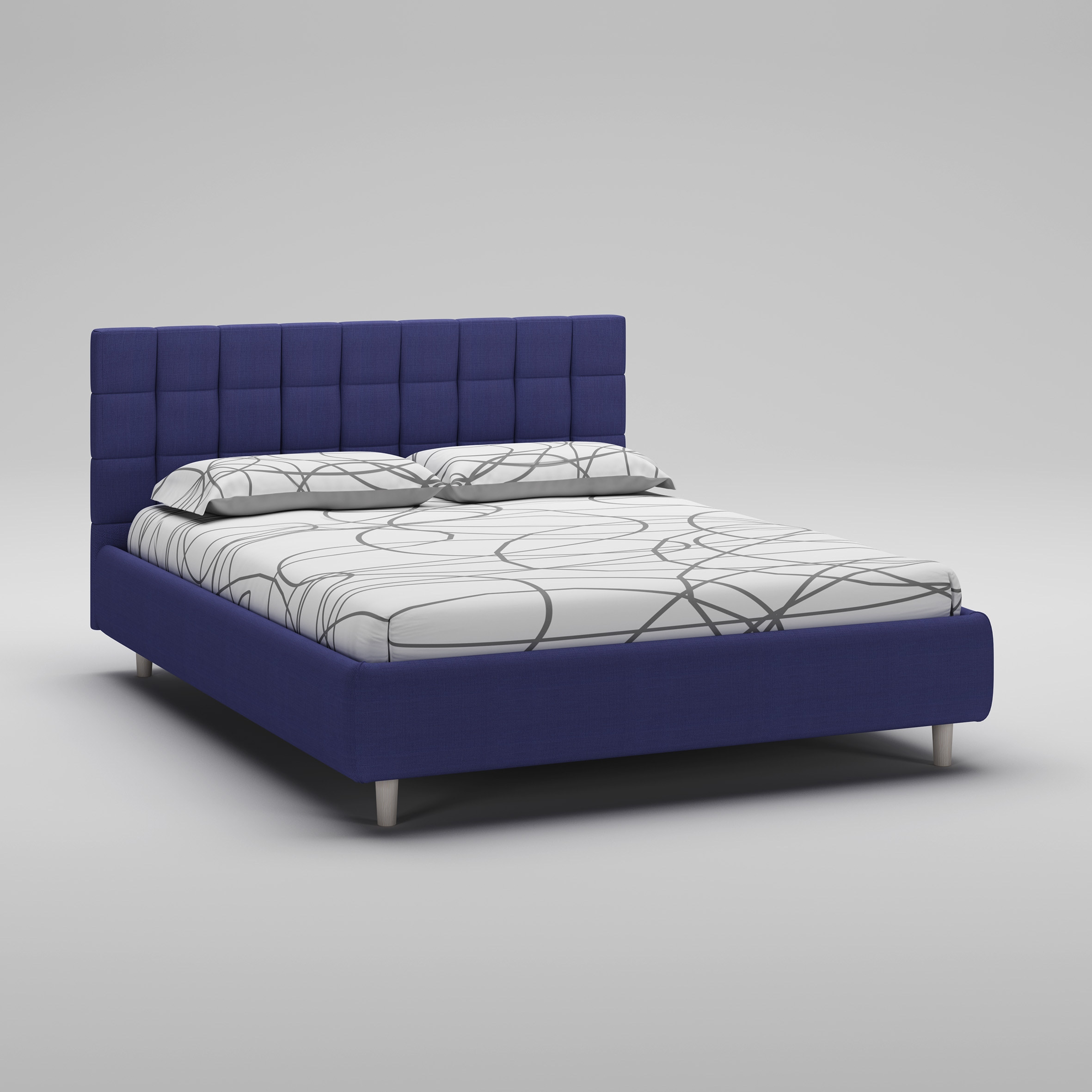 lit 160x200 avec cadre t te de lit bleu moretti. Black Bedroom Furniture Sets. Home Design Ideas