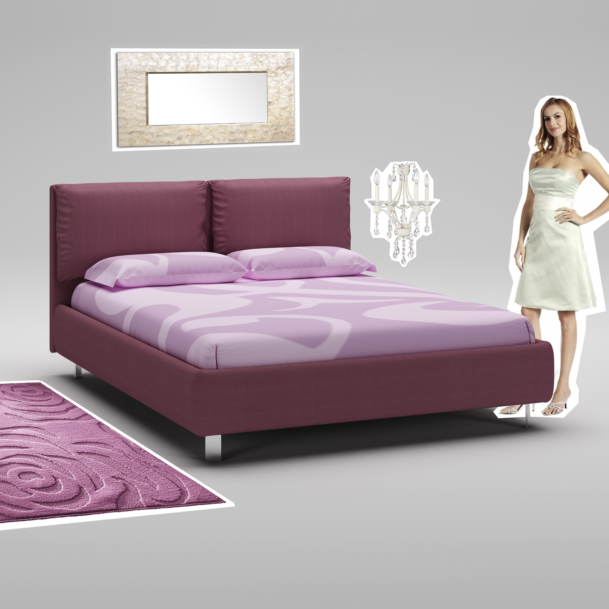lit 160x200 avec cadre t te de lit vin moretti compact so nuit. Black Bedroom Furniture Sets. Home Design Ideas