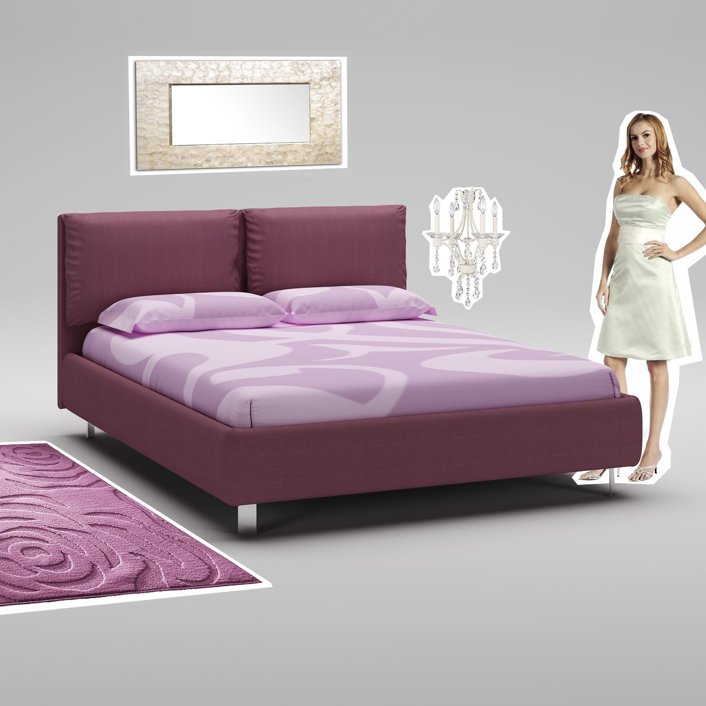 Lit 160x200 PERSONNALISABLE WL131 avec cadre et tête de lit rembourrés - MORETTI COMPACT