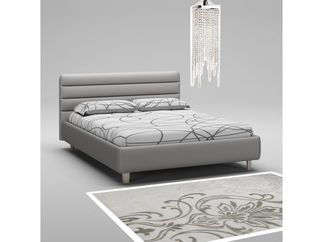 Lit coffre PERSONNALISABLE WL132 avec cadre et tête de lit rembourrés imitation cuir - MORETTI COMPACT