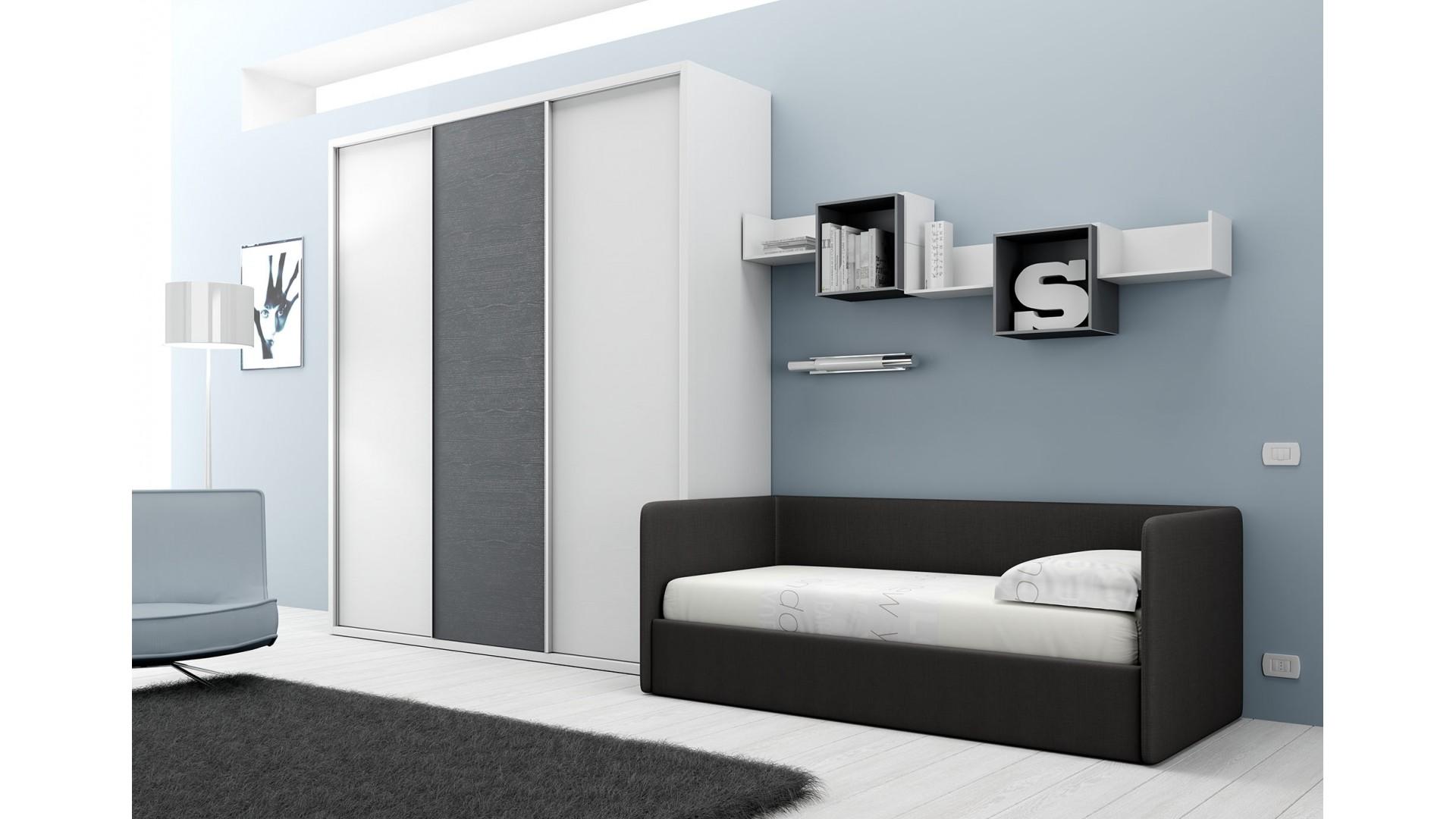 chambre avec lit canap et armoire moretti compact so nuit. Black Bedroom Furniture Sets. Home Design Ideas