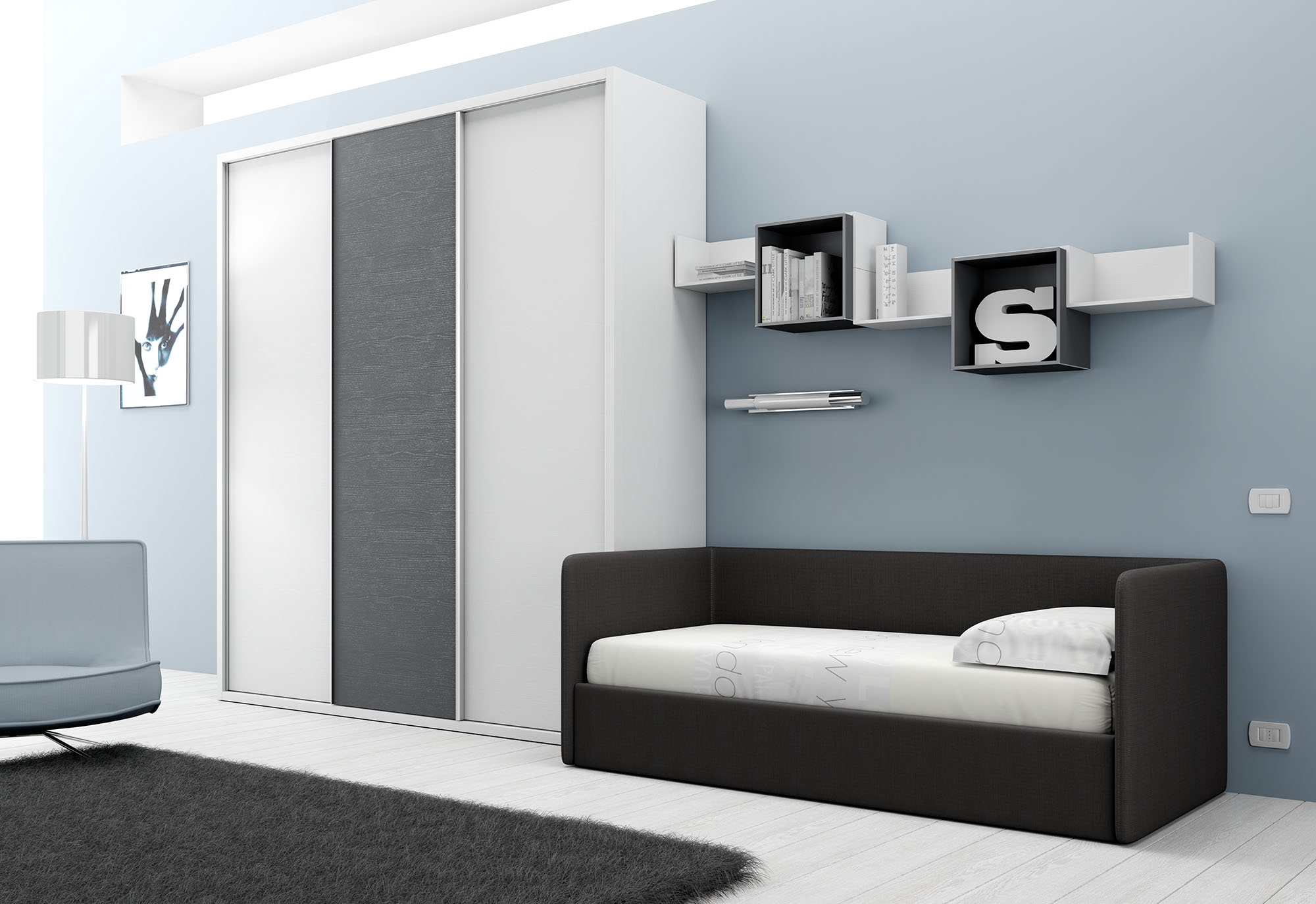 chambre avec lit canap et armoire moretti compact so nuit. Black Bedroom Furniture Sets. Home Design Ideas