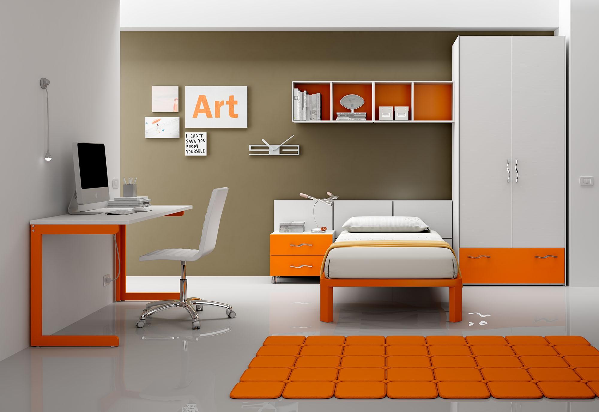 Chambre enfant PERSONNALISABLE BF35 avec lit 1 personne - MORETTI COMPACT