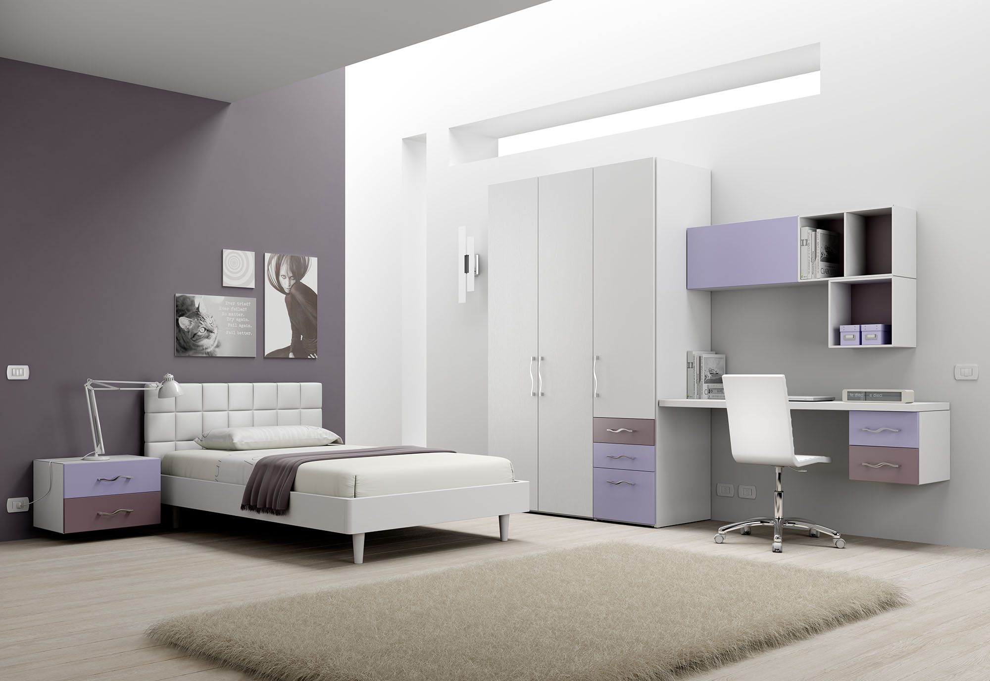 chambre enfant avec lit ado moretti compact so nuit. Black Bedroom Furniture Sets. Home Design Ideas