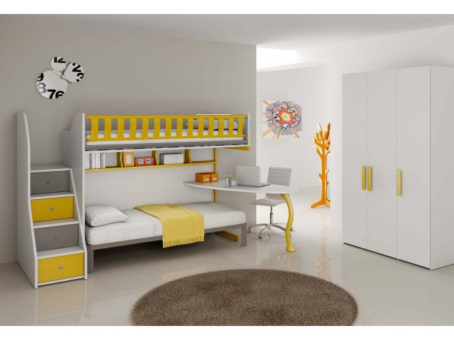 lit superpos avec bureau pour la chambre enfant. Black Bedroom Furniture Sets. Home Design Ideas