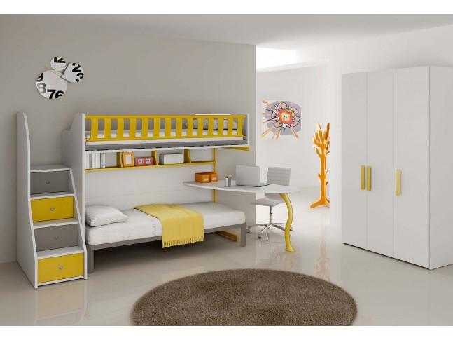 Chambre enfant PERSONNALISABLE BF37 avec lits superposés en mezzanine - MORETTI COMPACT