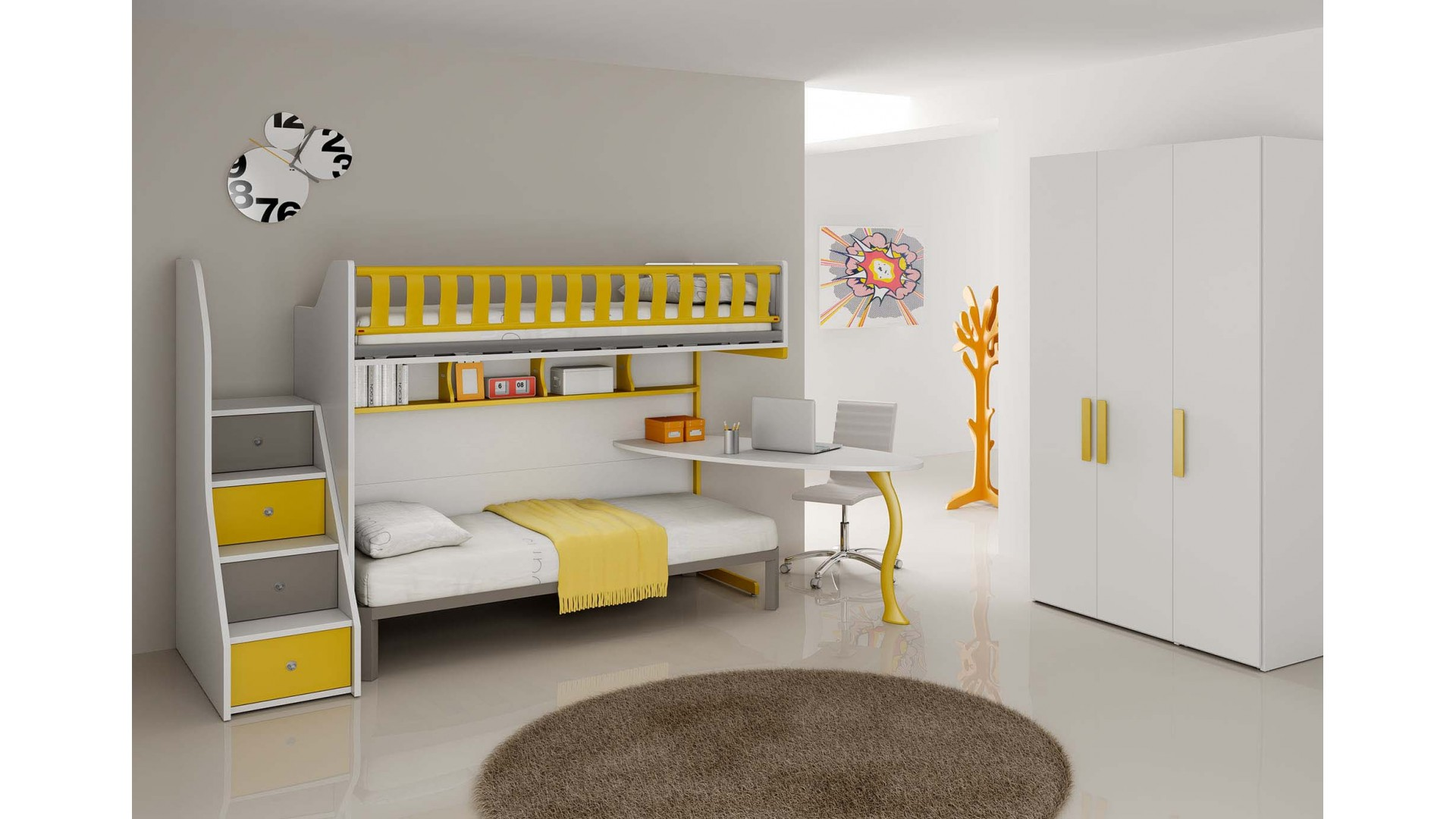 chambre enfant compl te lits superpos s moretti compact. Black Bedroom Furniture Sets. Home Design Ideas