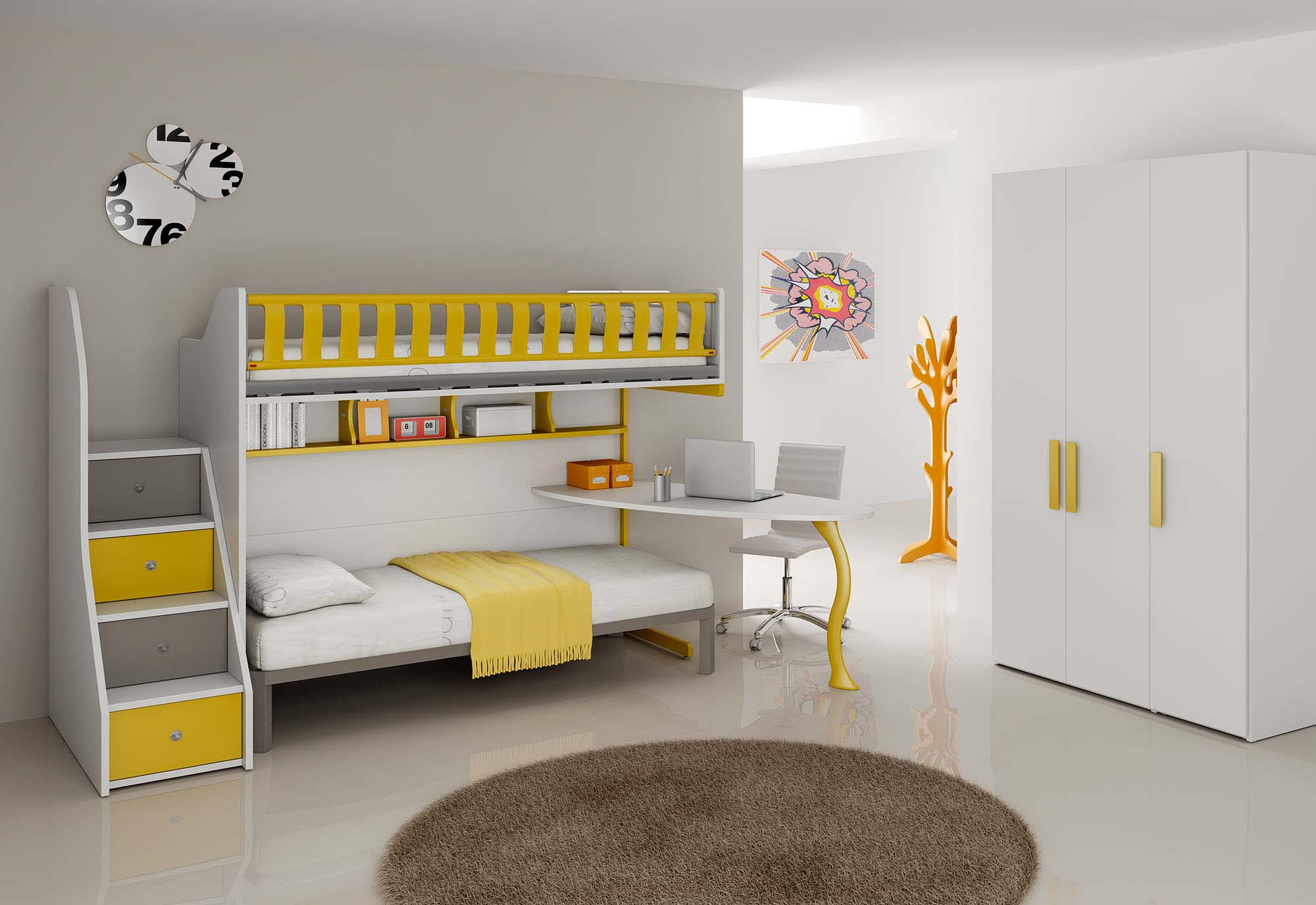 Chambre jaune moutarde - Lits superposes en l ...