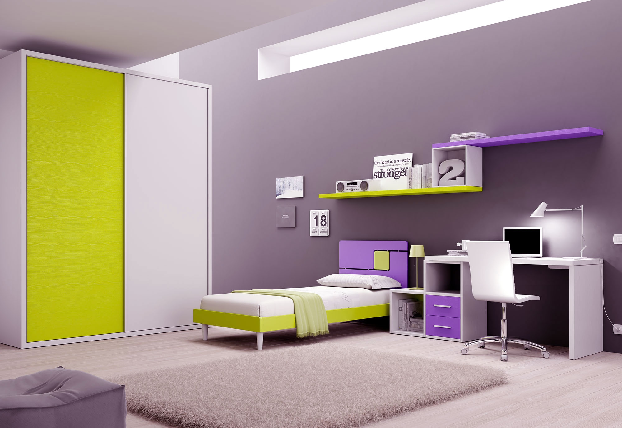 Chambre enfant PERSONNALISABLE BF38 avec lit 1 personne - MORETTI COMPACT