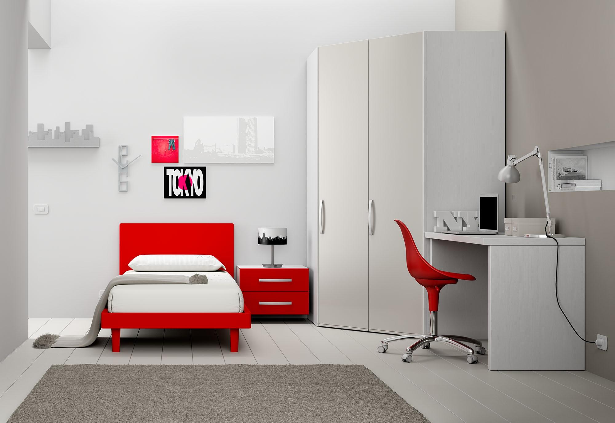 chambre enfant color e avec lit 1 personne moretti compact so nuit. Black Bedroom Furniture Sets. Home Design Ideas