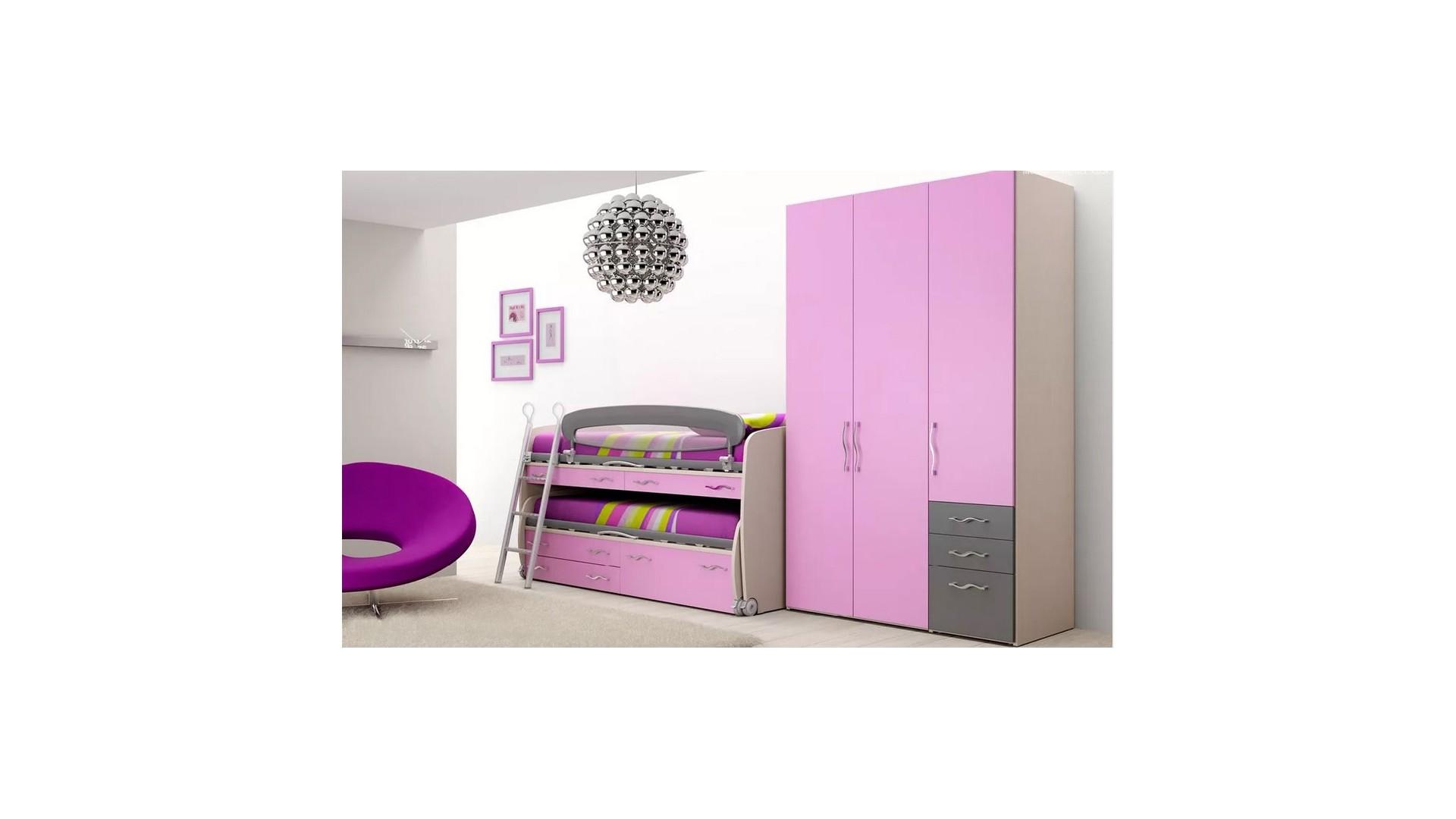 Chambre enfant PERSONNALISABLE BF41 lit surélevé et lit gigogne - MORETTI COMPACT