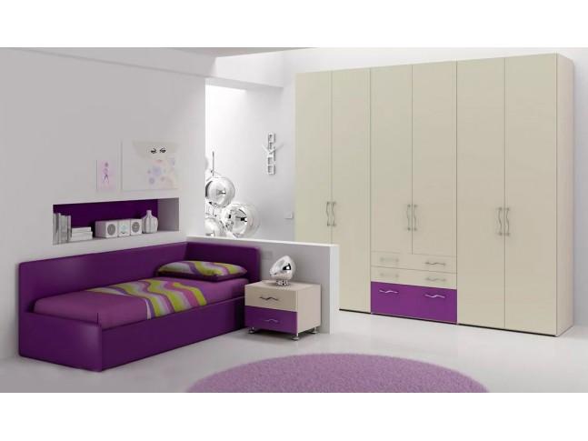 Chambre ado PERSONNALISABLE BF43 lit canapé et lit gigogne - MORETTI COMPACT