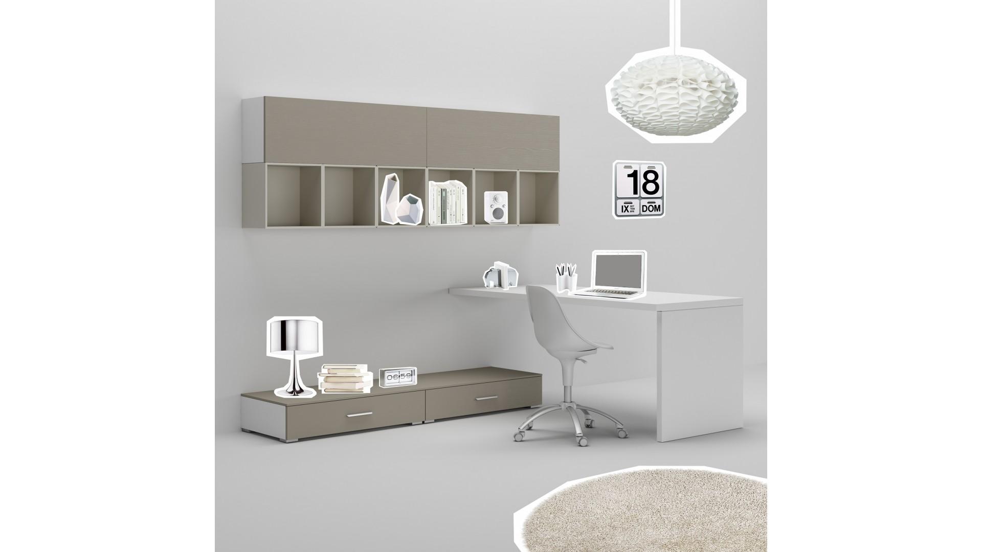 Bureau ado PERSONNALISABLE WS005 avec module bas surbaissé et meubles hauts avec niches - MORETTI COMPACT