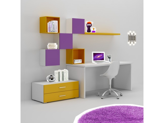 Bureau enfant PERSONNALISABLE WS006 avec bloc tiroir de rangement et meubles hauts - MORETTI COMPACT