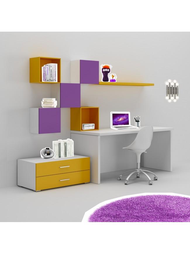 bureau enfant avec meuble de rangement et niche d co. Black Bedroom Furniture Sets. Home Design Ideas