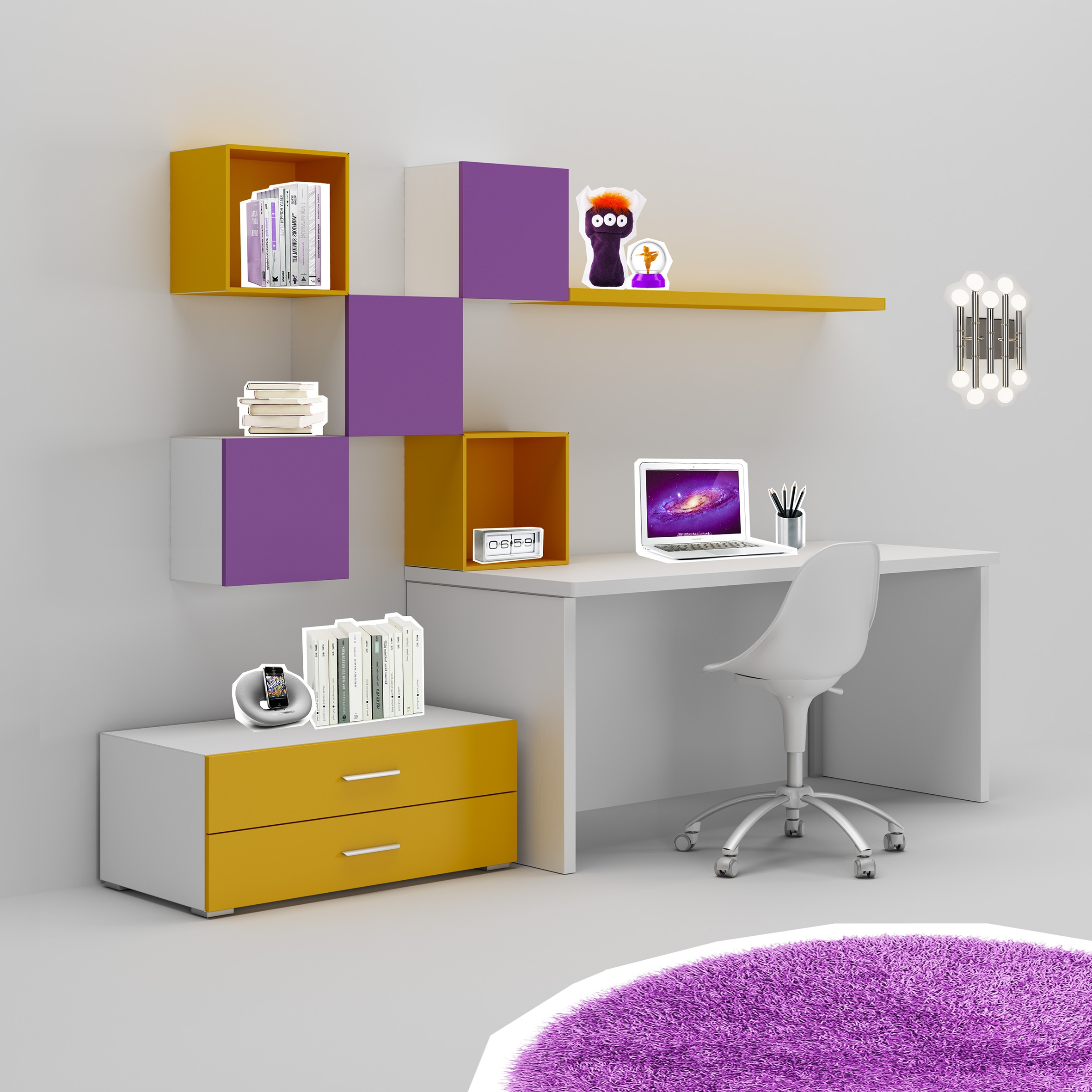 Bureau enfant tr s color fun moderne moretti compact so nuit for Bureau avec rangement design
