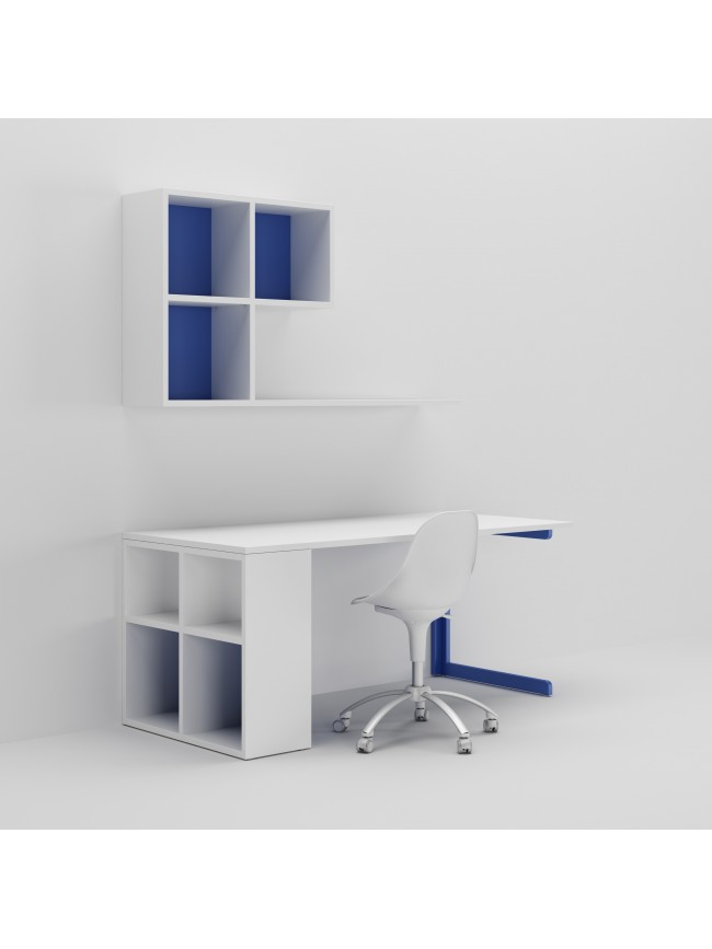 Bureau enfant avec meuble de rangement et niche d co for Bureau avec niche