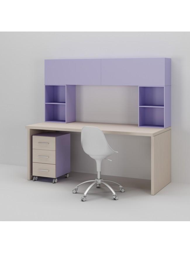 Bureau enfant avec meuble de rangement et niche d co for Bureau avec rangement haut