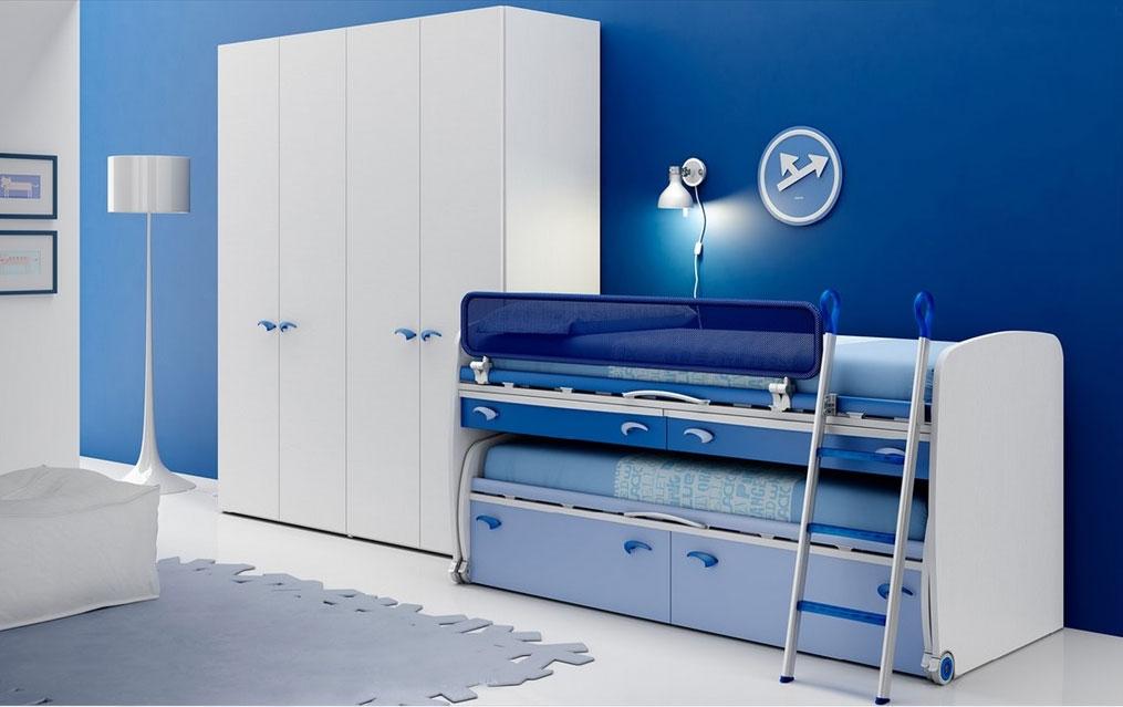 Chambre enfant PERSONNALISABLE BF45 lit surélevé et lit gigogne - MORETTI COMPACT