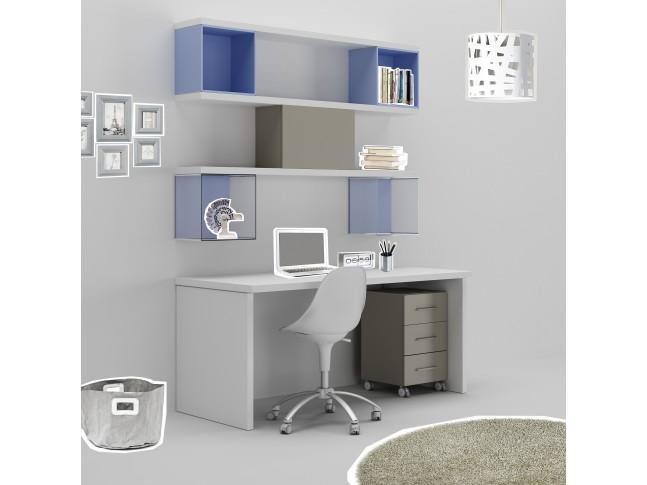 Bureau ado PERSONNALISABLE WS011avec bloc 3 tiroirs mobile et étagères déco - MORETTI COMPACT