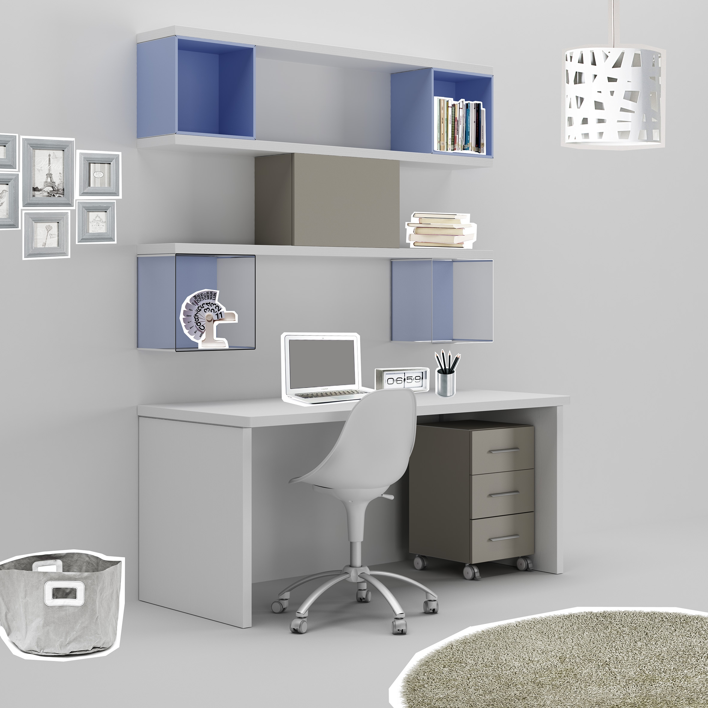 Bureau ado avec niches d co en m thacrylate moretti for Bureau angle avec etagere