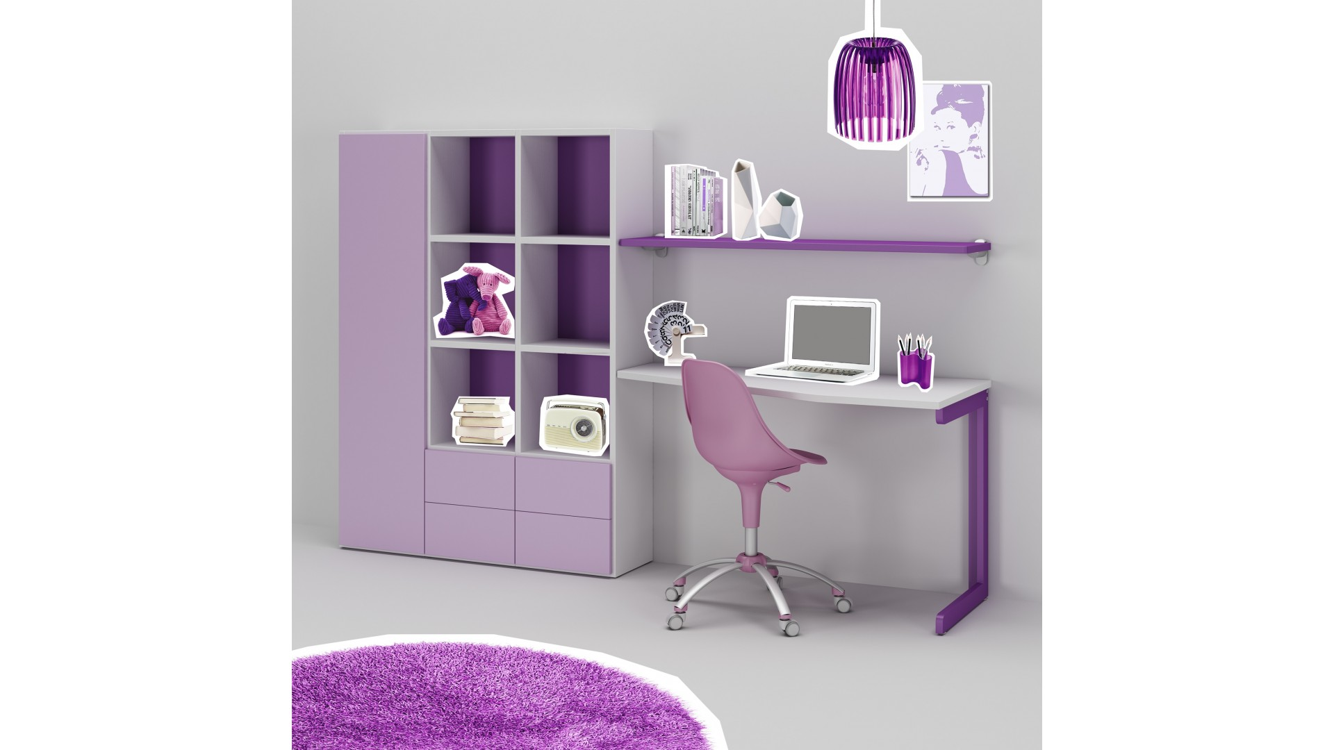 bureau enfant ou ado fun moderne color moretti compact so nuit. Black Bedroom Furniture Sets. Home Design Ideas