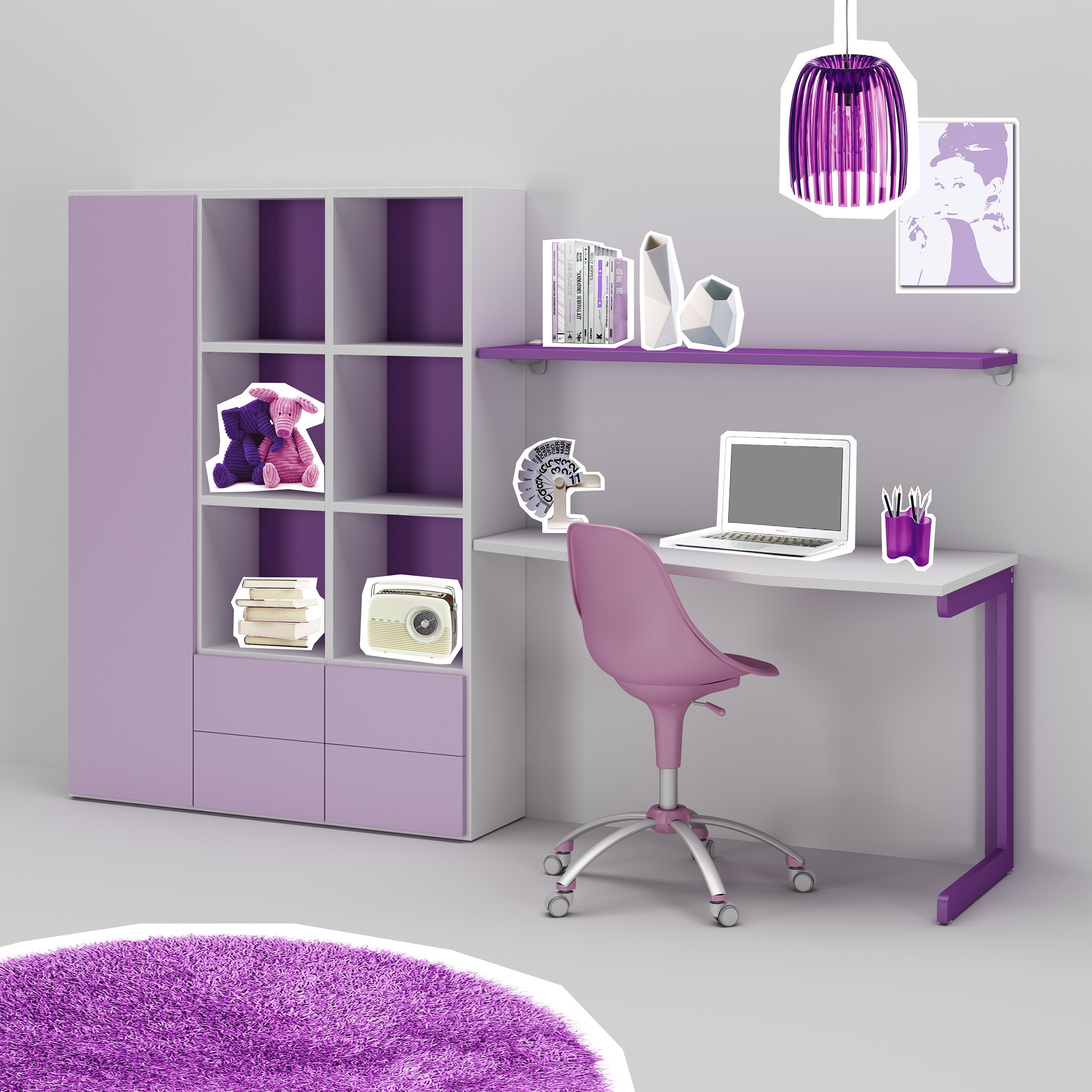 Bureau enfant ou ado fun moderne color moretti for Un bureau pour fille