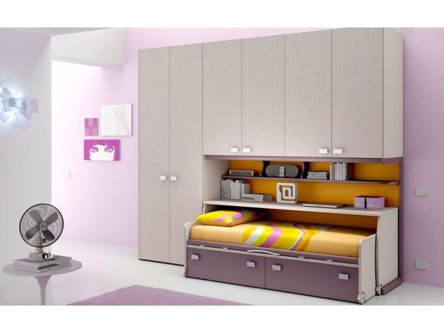 Chambre enfant PERSONNALISABLE BF48 lit 1 surélevé - MORETTI COMPACT