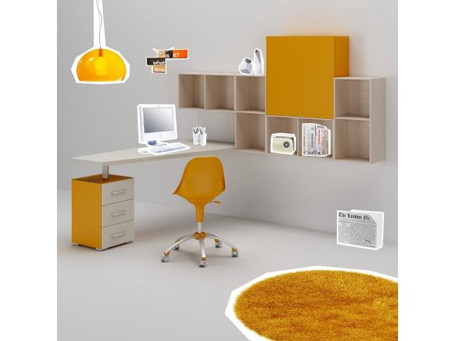 Bureau ado PERSONNALISABLE WS015 posé sur bloc 3 tiroirs et module haut - MORETTI COMPACT