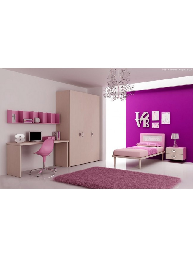 chambre enfant color e avec lit 1 personne moretti compact so nuit. Black Bedroom Furniture Sets. Home Design Ideas