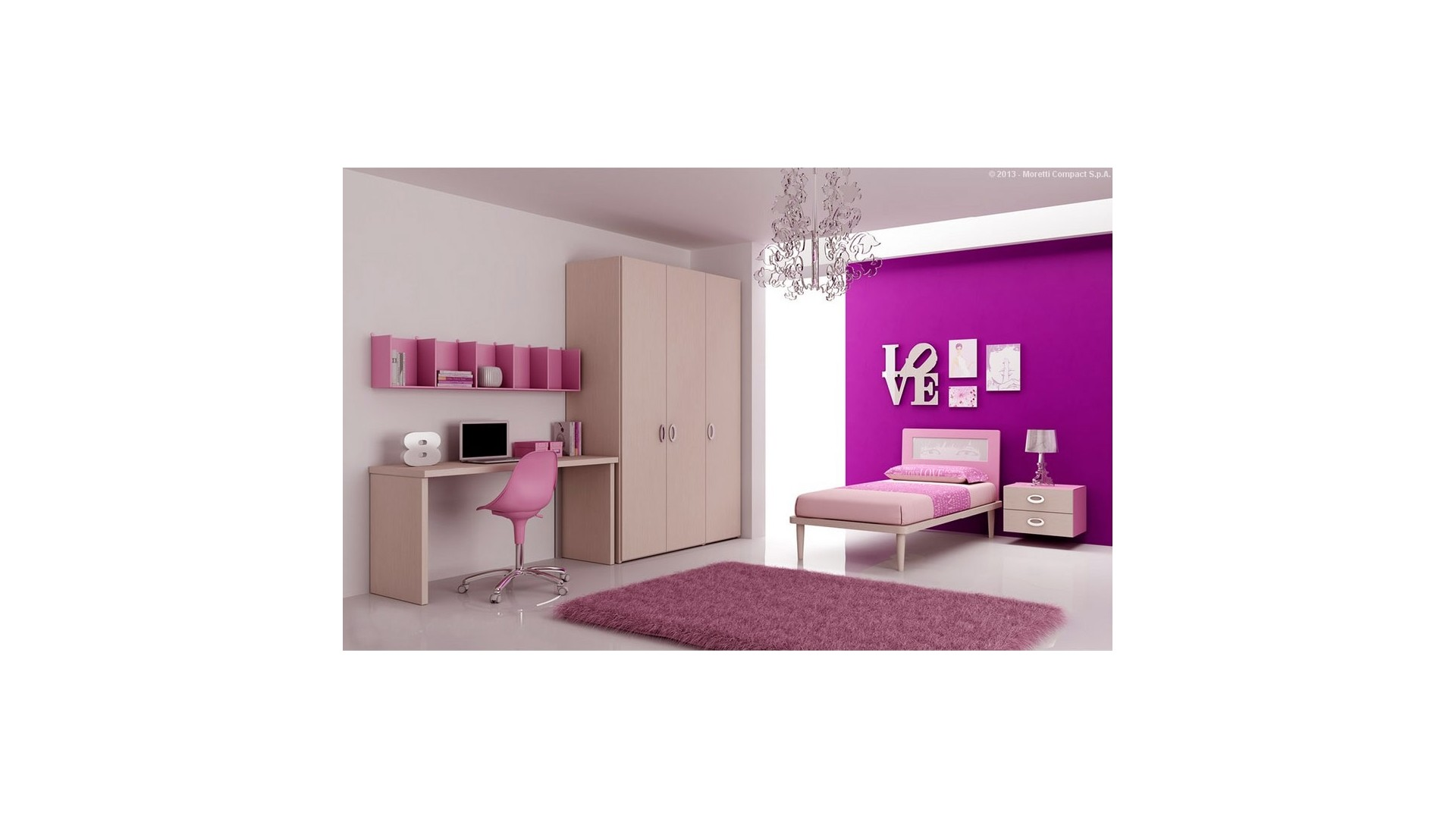 chambre enfant color e avec lit 1 personne moretti. Black Bedroom Furniture Sets. Home Design Ideas