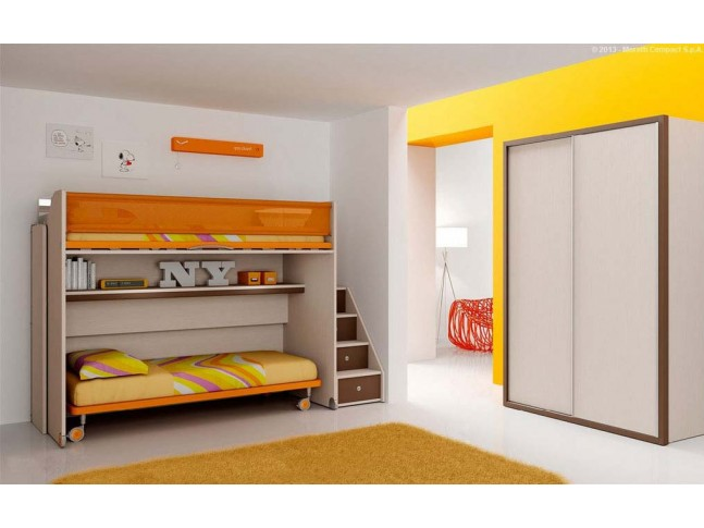 Chambre enfant PERSONNALISABLE BF50 lits superposés en mezzanine - MORETTI COMPACT