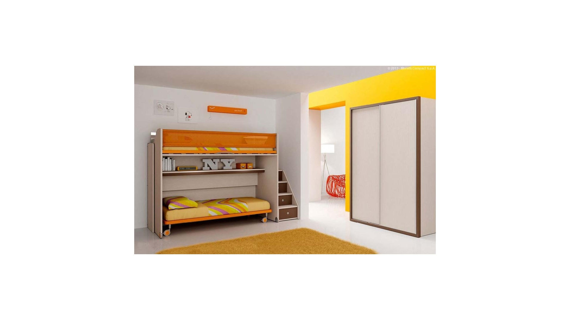 chambre enfant avec lits superpos s moretti compact so nuit. Black Bedroom Furniture Sets. Home Design Ideas