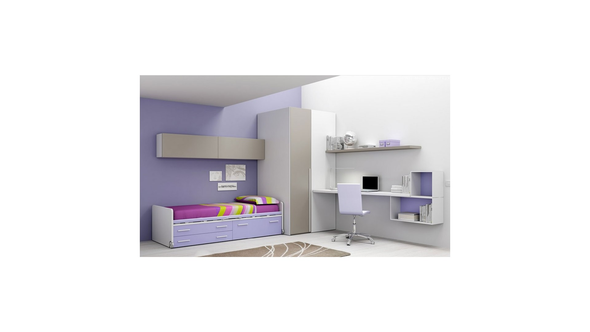 chambre enfant avec lit sur lev mobile moretti compact so nuit. Black Bedroom Furniture Sets. Home Design Ideas