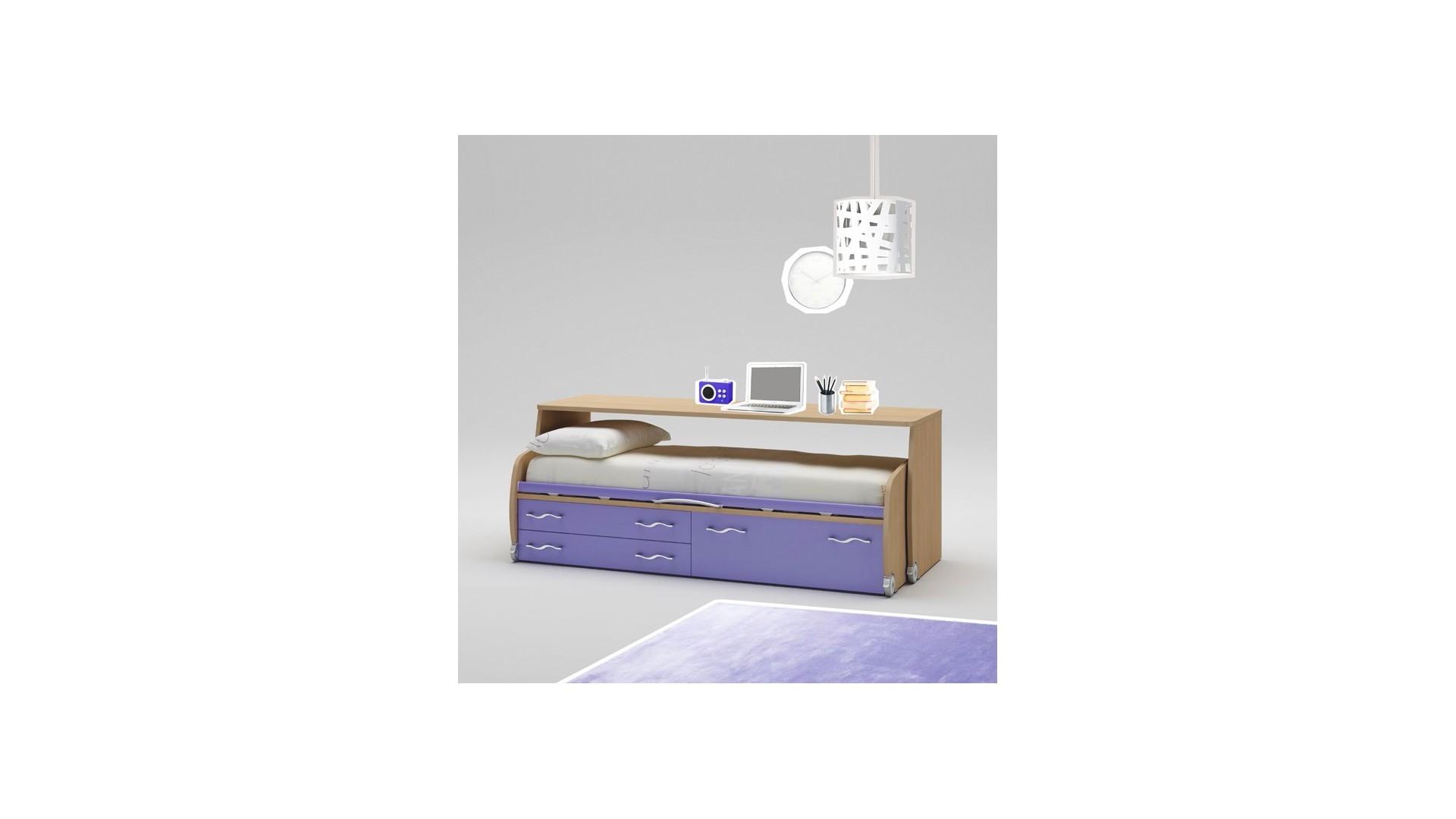 Lit tiroir PERSONNALISABLE WP004 avec bureau sur roulettes - MORETTI COMPACT