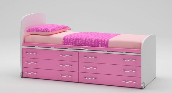 Lit enfant PERSONNALISABLE WP010 avec 6 tiroirs sur roulettes - MORETTI COMPACT