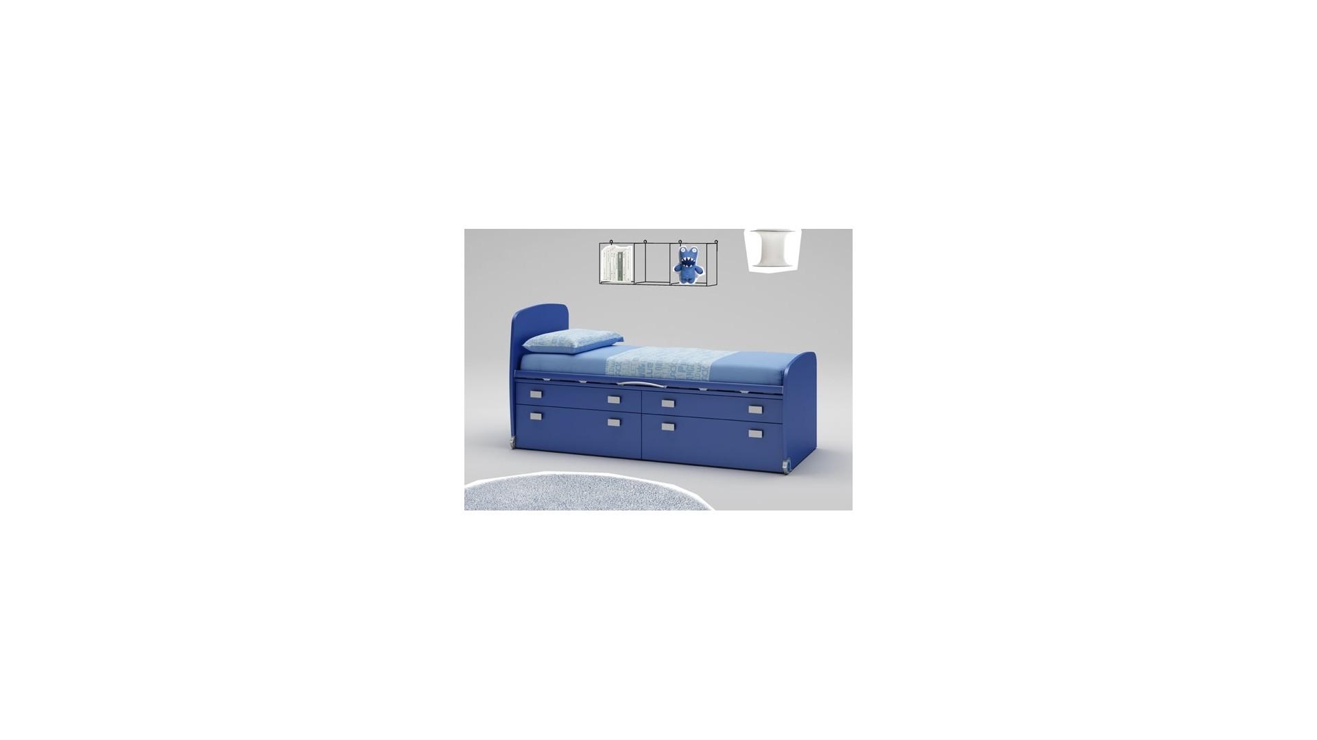 Lit enfant PERSONNALISABLE WP011 avec 2 tiroirs et 2 coffres sur roulettes - MORETTI COMPACT