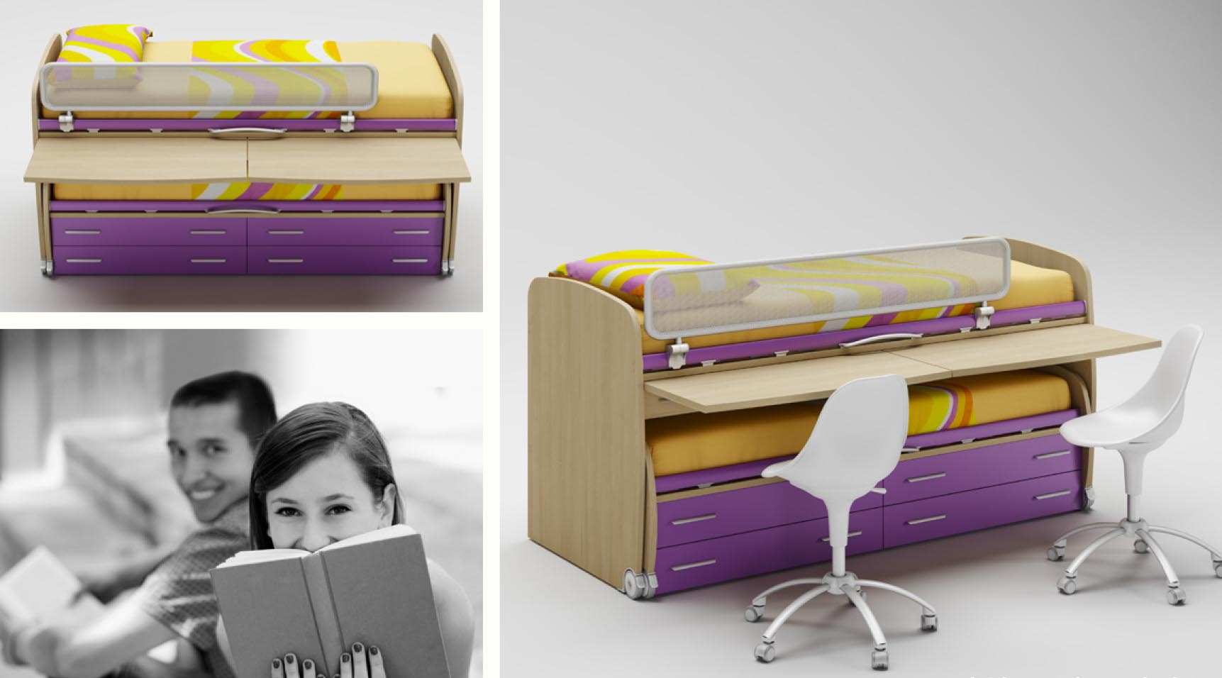 Lits superpos s avec chelle bureaux moretti compact for Lits superposes avec rangement