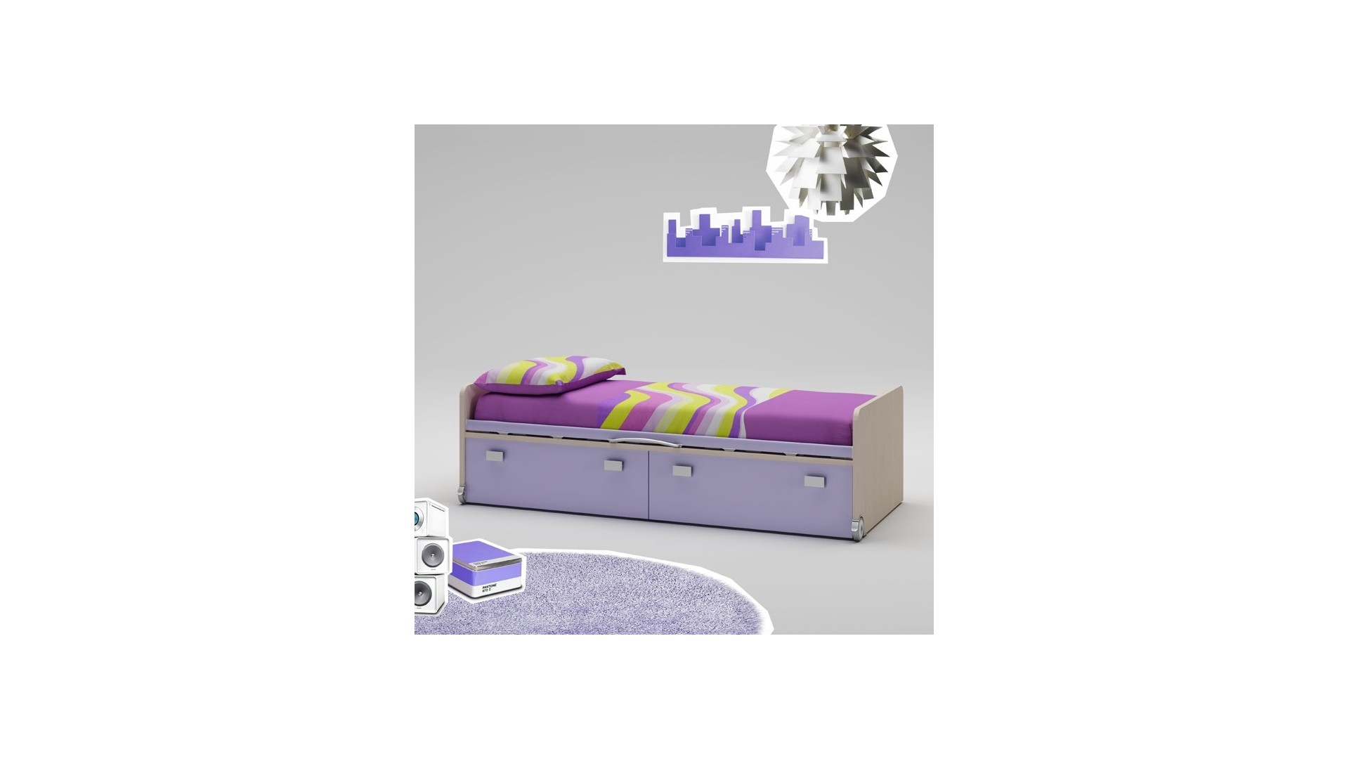 lit enfant avec 2 grands coffres profonds moretti. Black Bedroom Furniture Sets. Home Design Ideas