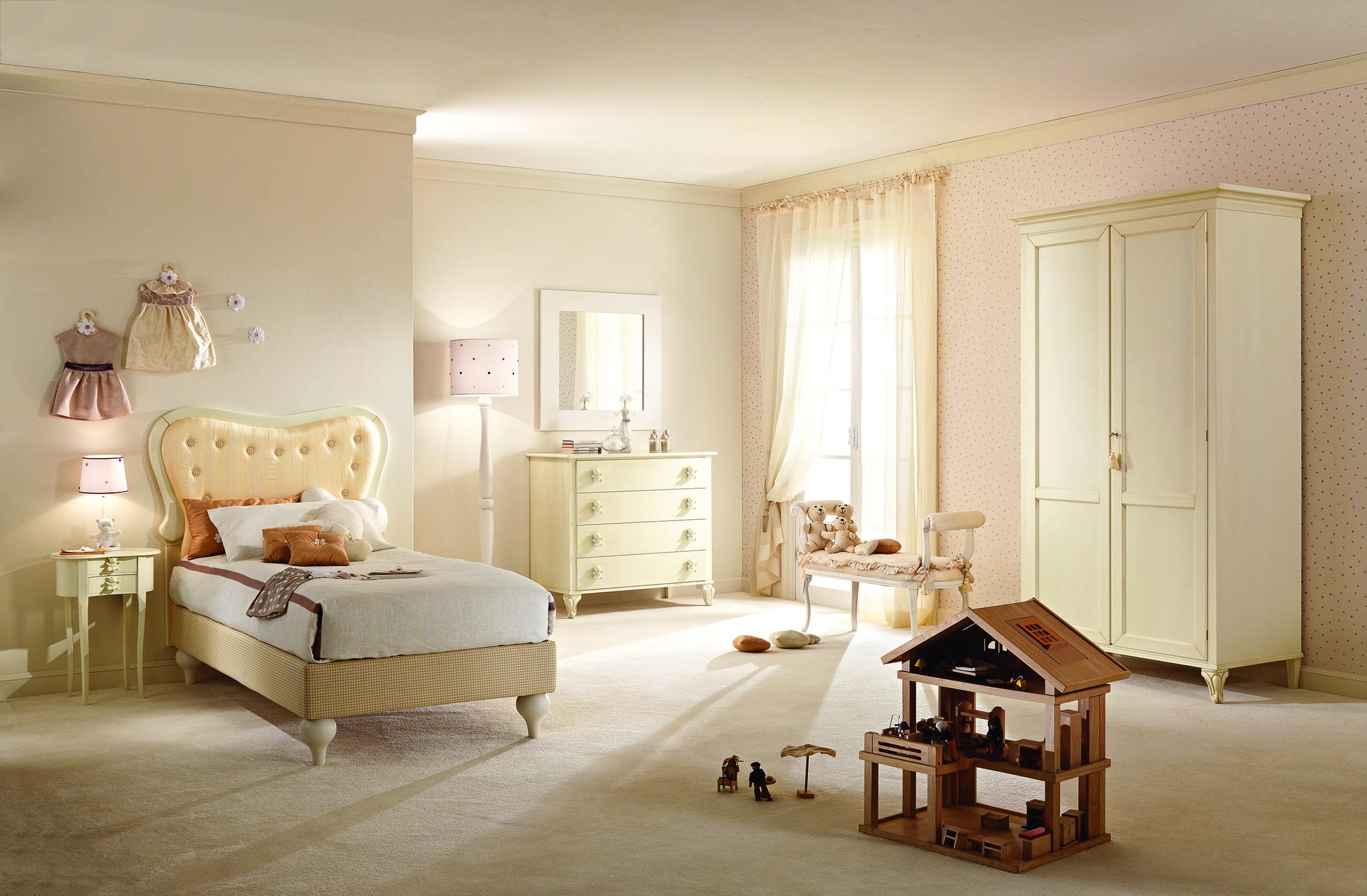 Lit enfant avec t te cadre de lit tissu vicky for Chambre complete 1 personne