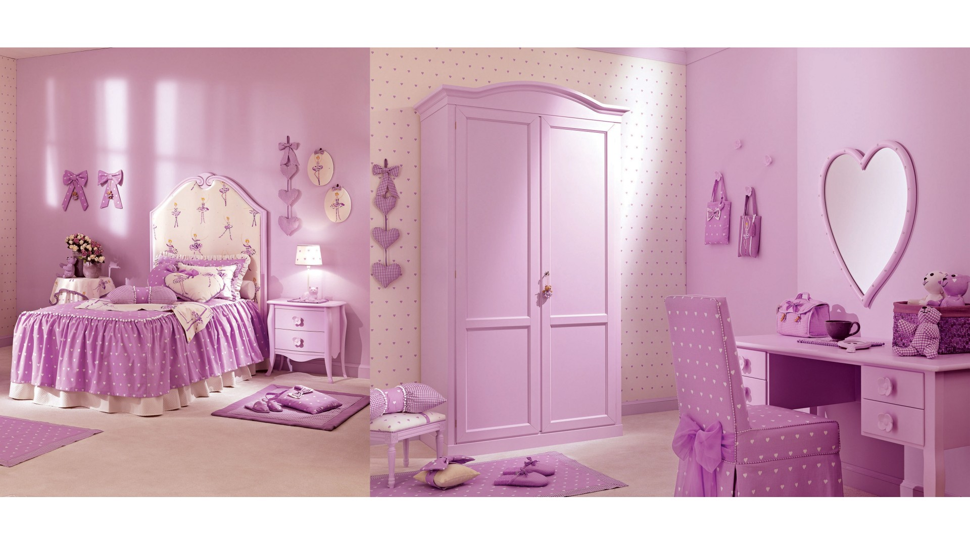 Lit fille juliette couleur lila petit coeur piermaria - Lit chateau pour petite fille ...