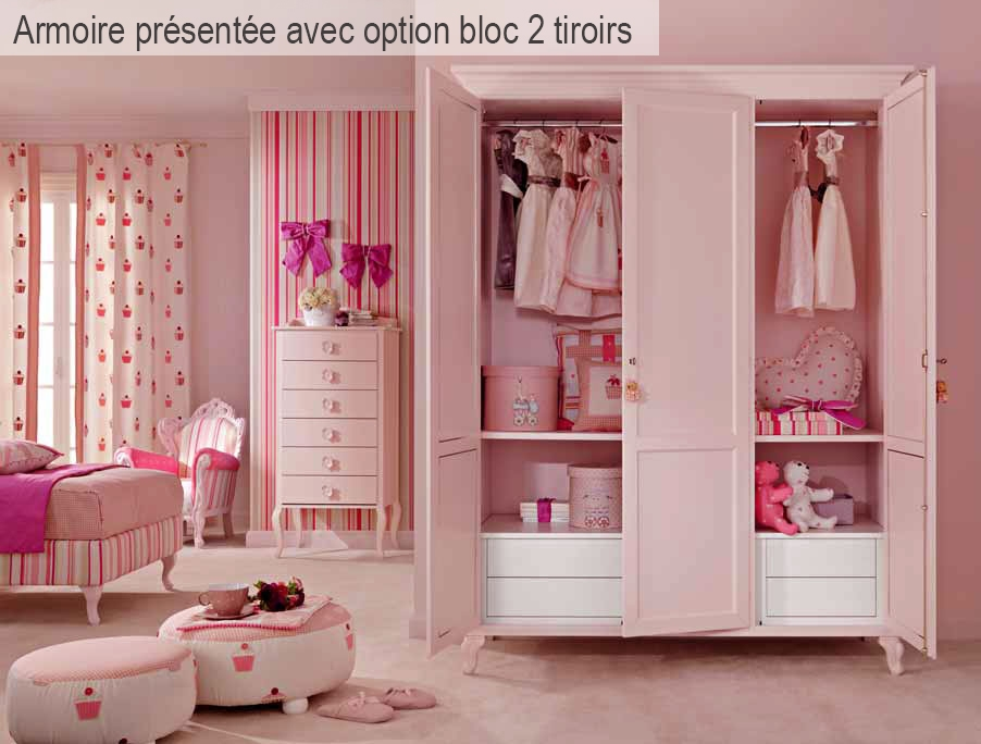 armoire 3 portes battantes couleur rose pastel piermaria. Black Bedroom Furniture Sets. Home Design Ideas