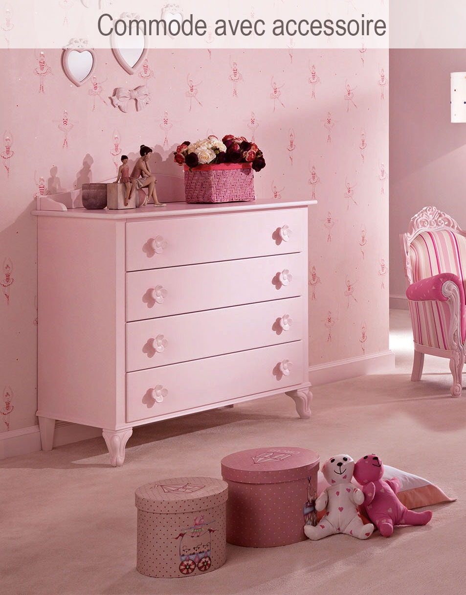 commode 4 tiroirs cr me avec boutons ourson piermaria. Black Bedroom Furniture Sets. Home Design Ideas